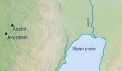 Karta koja prikazuje Jeruzalem i Jeremijin rodni grad Anatot