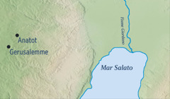 Una cartina che indica Gerusalemme e Anatot, la città natale di Geremia