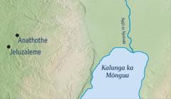 Mapa i londekesa o mbanza ia Jeluzaleme, ni mbanza ia Anathothe mua vualela Jelemiia