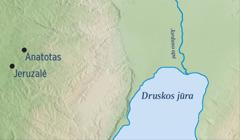 Žemėlapis, kuriame parodyta Jeruzalė ir Jeremijo gimtasis miestas Anatotas