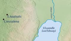 Imephu etshengisa iJerusalema kanye ledolobho lapho uJeremiya azalelwa khona i-Anathothi