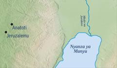Mapa yakulatiza mzinda wa Jeruzalemu na mzinda wa Anatoti omwe mpolofeta Jeremiya adakulira