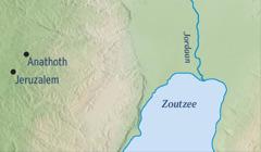 Een kaart waarop Jeruzalem en Jeremia's geboorteplaats Anathoth worden weergegeven