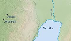 Un mapa mostrant Jerusalem iAnatot, ciutat natal de Jeremies