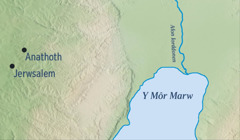 Map yn dangos Jerwsalem ac Anathoth tref Jeremeia