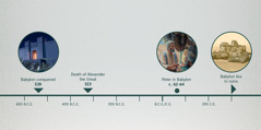 A timeline showing the conquest of Babylon, the death of Alexander the Great, Peter in Babylon, and Babylon in ruins