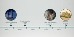 Linha do tempo mostrando: a conquista de Babilônia; a morte de Alexandre, o Grande; visita de Pedro a Babilônia; e Babilônia em ruínas