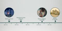 Een tijdlijn met de verovering van Babylon, de dood van Alexander de Grote, Petrus in Babylon en het vervallen Babylon