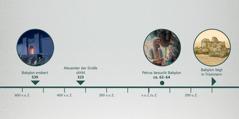 Folgende Ereignisse auf einer Zeitleiste: Babylon wird erobert, Alexander der Große stirbt, Petrus besucht Babylon, Babylon liegt in Trümmern
