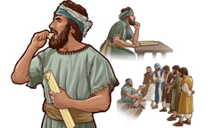 After eating a scroll representing God's message, Ezekiel speaks to the men of Israel
