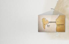 Et kort der viser fastlandsbyen Tyrus og øbyen Tyrus