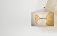 Un mapa sinalando acidade ea illa de Tiro