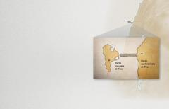 Una cartina mostra la parte continentale e la parte insulare della città di Tiro