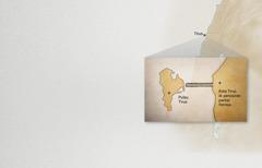 Peta menunjukkan kota Tirus yang terletak di persisiran pantai dan di pulau Tirus