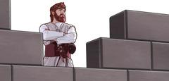دیدهبانی روی دیوار شهر مستقر شده است