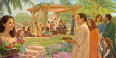 Personas de diferentes culturas comiendo juntos en el Paraíso en la Tierra