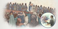A priest teaches the Law to assembled Israelites, and an elder teaches from the Bible at a congregation meeting