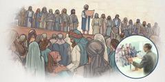 Saserdoteng nagtuturo ng Kautusan sa nagkakatipong mga Israelita, at elder na nagtuturo ng Bibliya sa isang pulong ng kongregasyon