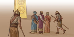 The three Hebrews refuse to bow down to Nebuchadnezzar's image of gold