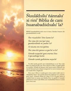 Tratadu Ñuulá'dxilu' ñánnalu' xi riní' Biblia de cani huanabadiidxalu'la?
