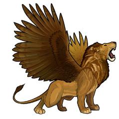 شیر کی طرح دِکھنے والا ایک درندہ جس کے عقاب جیسے پَر ہیں