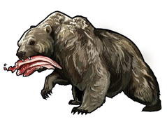 A beast like a bear with three ribs in its mouth