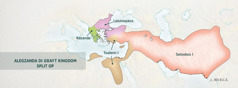 Di Greek Kingdom mi wahn geh divaid op monks Alegzanda foa jenaral[Map pahn payj 4]