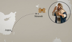 The route from Joppa to Nineveh