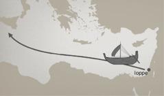 Su una cartina viene indicata la rotta del viaggio via mare da Ioppe a Tarsis