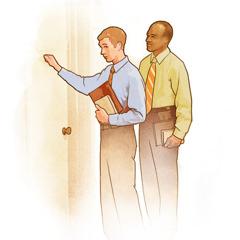 دو شاهد یَهُوَه در حال موعظه