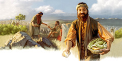 Jesus' disciples feed a large crowd