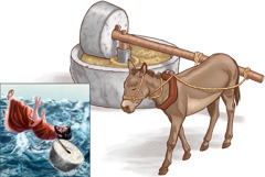 One donkey dey turn millstone; dem tie millstone for one man neck, dem come throw am inside sea