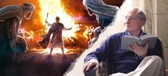 Bróðir sér fyrir sér það sem hann les í Biblíunni