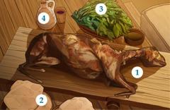عیِد فسح کا میمنا، بےخمیری روٹی، کڑوا ساگپات اور مے