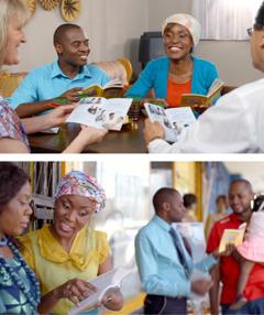 Solomoni me Marinë po drejtojnë studimin biblik me Ezekielin dhe Abigailën; Ezekieli dhe Abigaila në dëshminë publike