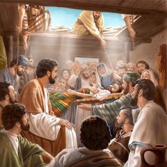 Alguns homens no telhado de uma casa descendo uma maca com um homem paralítico até Jesus