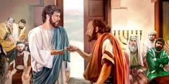 Seorang pria yang tangannya lumpuh mendekati Yesus