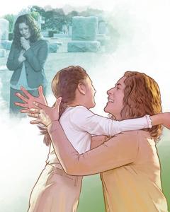 Seorang ibu menangis di kuburan anaknya dan merenungkan kebangkitan anaknya