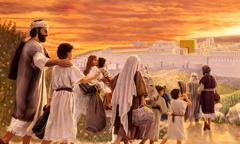 Jesus jovem viajando com sua família para celebrar a Páscoa em Jerusalém