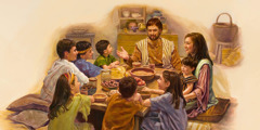 Joseph and Mary use mealtime to teach Jesus and their other children