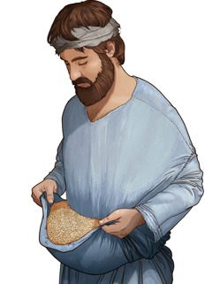 Čovjek iz biblijskog doba drži žito u naborima svoje haljine