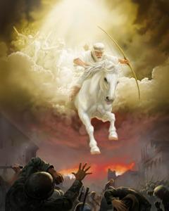 یسوع سفید گھوڑے پر سوار ہیں۔