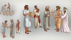 یسوع مسیح مٹکوں کو پانی سے بھرنے کی ہدایت کر رہے ہیں، دعوت کا منتظم مے چکھ رہا ہے اور پھر اچھی مے پیش کرنے پر دُلہے کی تعریف کر رہا ہے۔