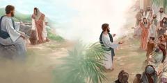 Isus na zdencu razgovara sa Samarićankom; Samarićanka priča drugima o Isusu