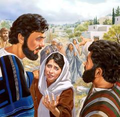 Jesús consuela a María mientras otras personas miran