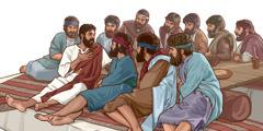 Jesús parlant amb els seus apòstols