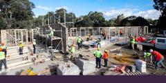 Testigos de Jehová construyendo un Salón del Reino en Australia