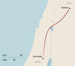 Hartë ku tregohet Jerusalemi dhe Damasku