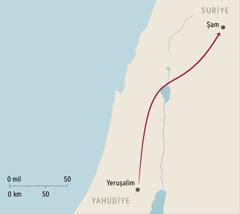 Şam ve Yeruşalim'i gösteren bir harita