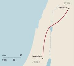 Map yn dangos Damascus a Jerwsalem